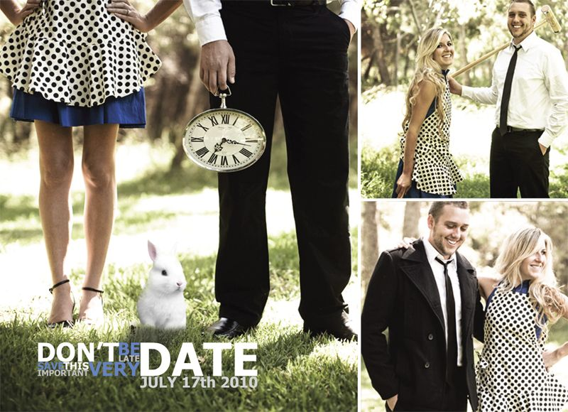 """Alice In Wonderland Inspired Save The Date Cards. """"Don't"""