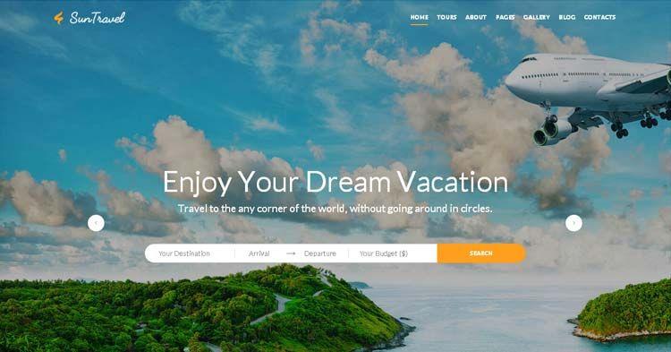 Travel Agency Website >> Sun Travel Fully Responsive Travel Agency Online Web