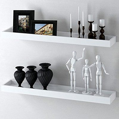 Modern Home White Floating Tray Wall Wedge Shelf 32 X 6 Inch Wall Mounted Shelves Floating Wall Floating Shelves