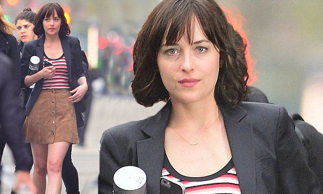 Dakota johnson displays her slim legs in high waisted skirt on nyc dakota johnson is in new york filming her new movie how to be single and recently got her hair chopped off for the role ccuart Images