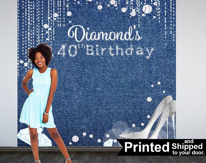 Denim Amp Diamonds Photo Backdrop 40th Birthday Backdrop