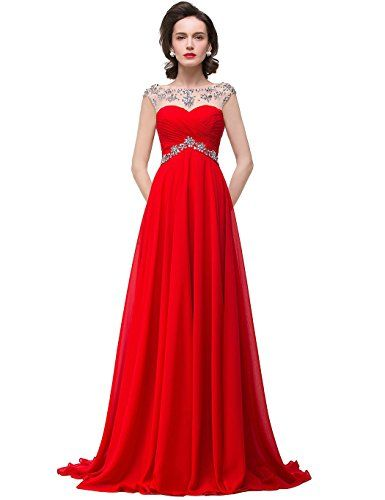 Red Chiffon Crystals Beaded Bridesmaid Dress US8 >>> Click on the image for additional details.