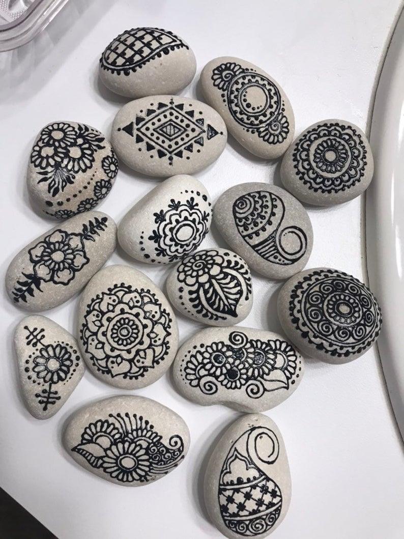 Photo of Meditation Stones Set (1 – 2inch) Waterfall Wish Stones/Outdoor Garden Rocks/Hand Painted Decor/Wedding Guest Book Decoration