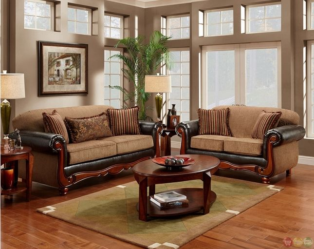 cherry wood frame radar mocha chenille sofa loveseat set