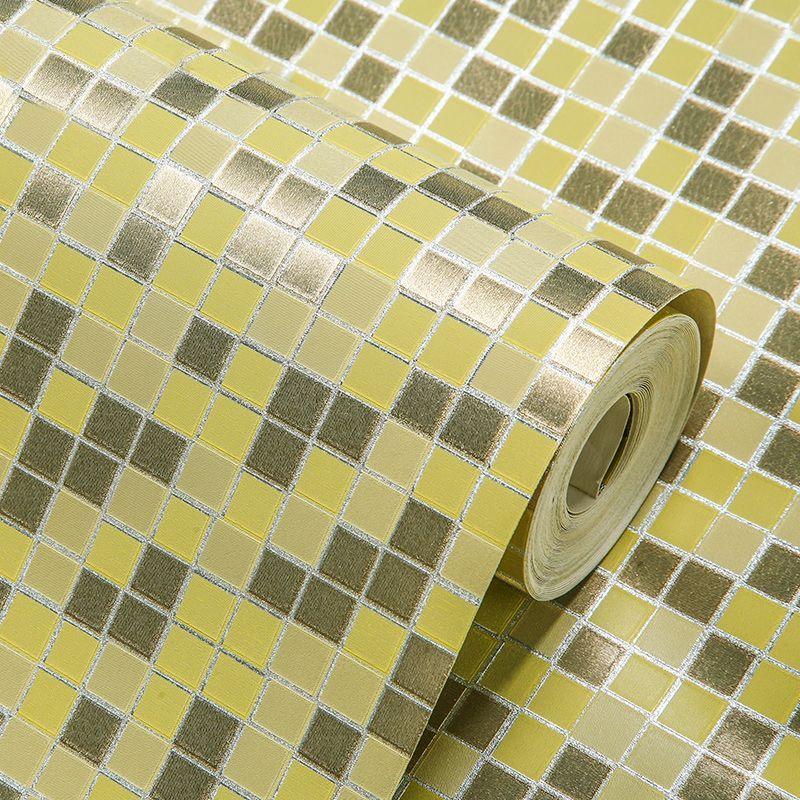 PVC Waterproof Gold Foil Wallpaper Rolls Mosaic Lattice Wall Paper ...