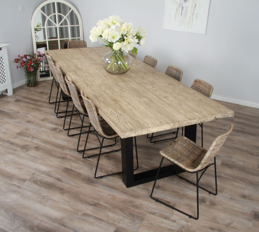 3m Reclaimed Pine Industrial Chic Cubex Table With Black Legs And
