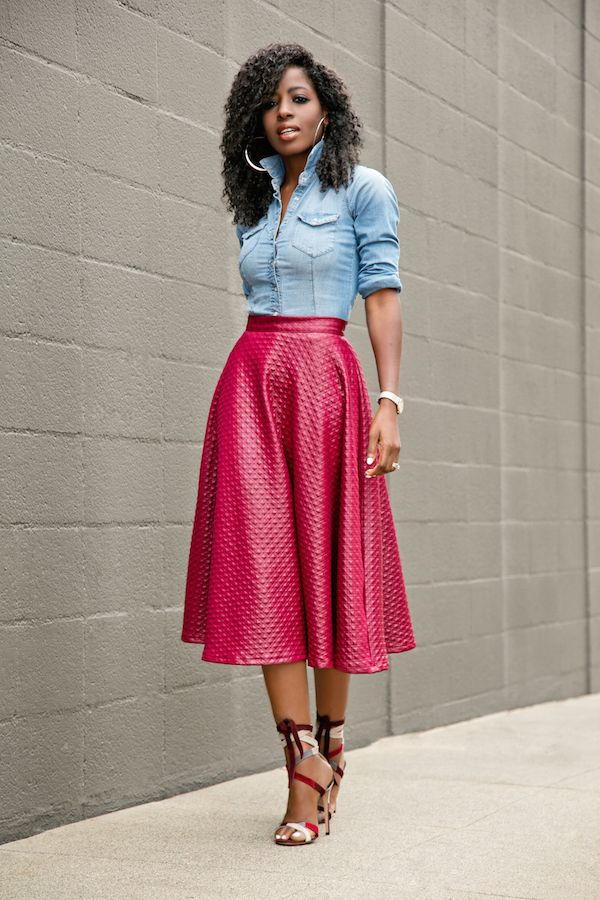 Fitted Denim Shirt   Swing Midi Skirt Style Pantry waysify | Top ...