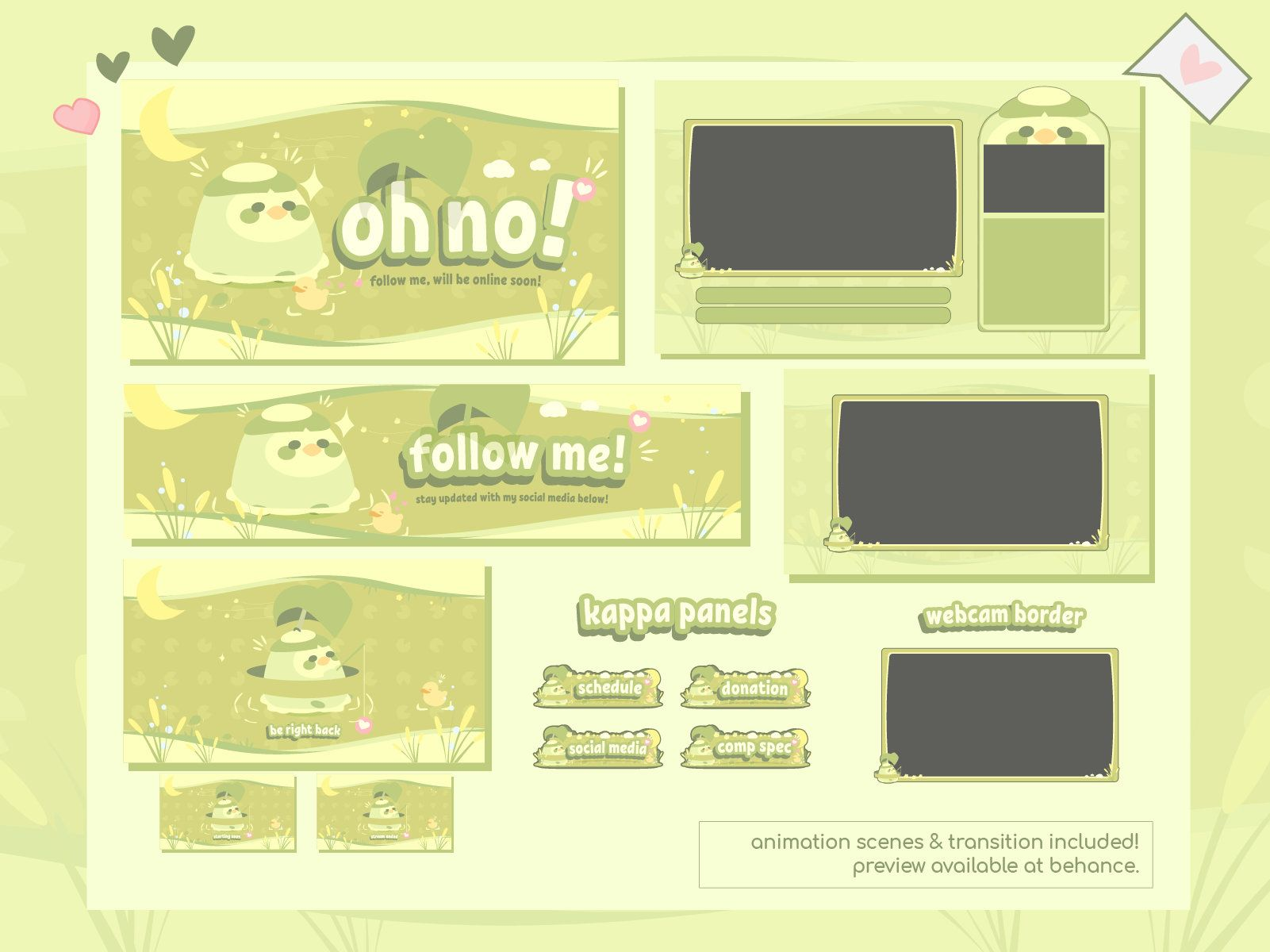 Pastel Green Cute Twitch Overlay Stream Package Designs Lublub The Kappa By Tofulong On Etsy Packaging Design Twitch Streaming Setup Overlays Cute