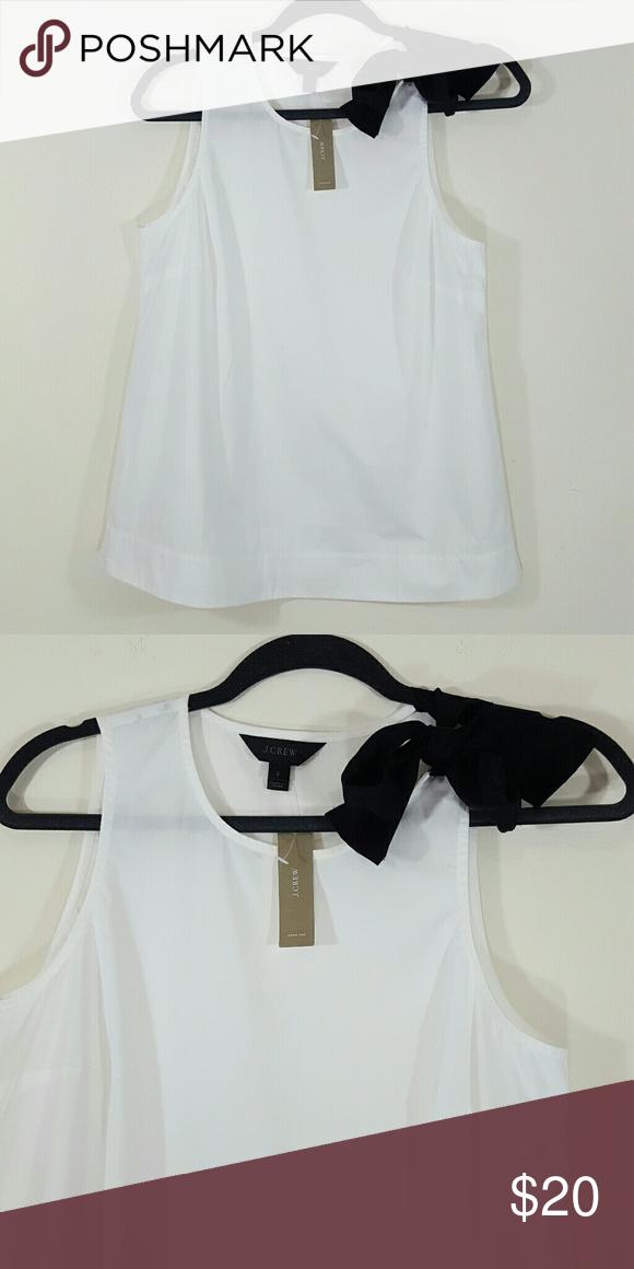 J Crew ribbon tie sleeveless cotton blouse NWT NWT J Crew