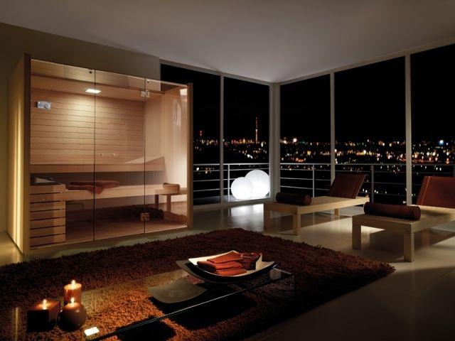 Sauna Sky holz glas türen wellness universum zuhause Bad - sauna designs zu hause