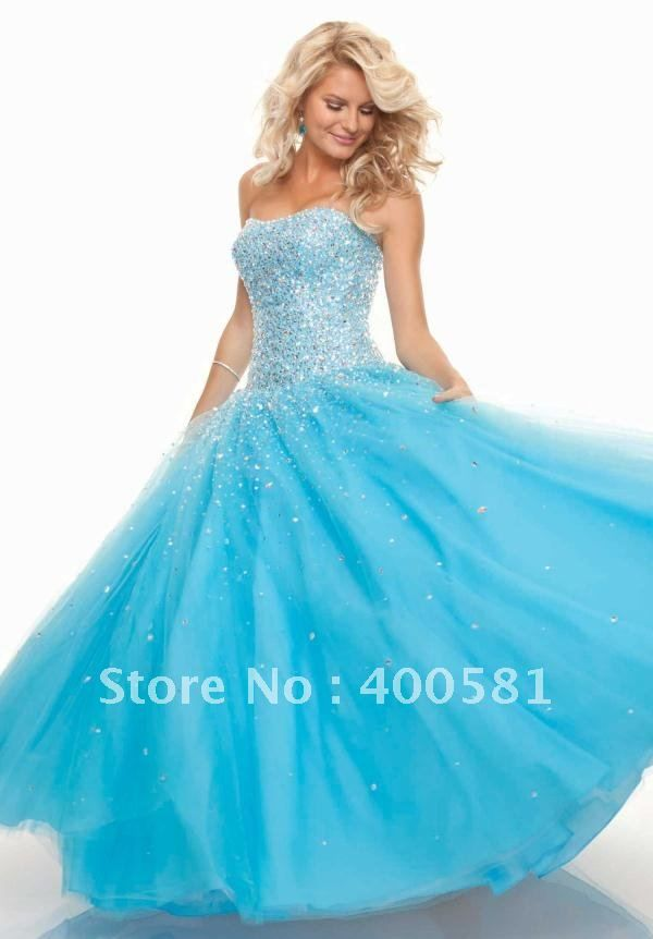 blue Ball Gown Prom Dresses | Strapless Drop Waist Ball Gown Floor ...