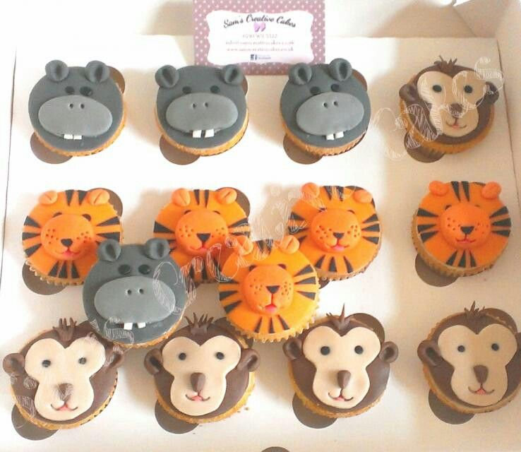 Wild animal cupcakes Tigers monkeys hippos