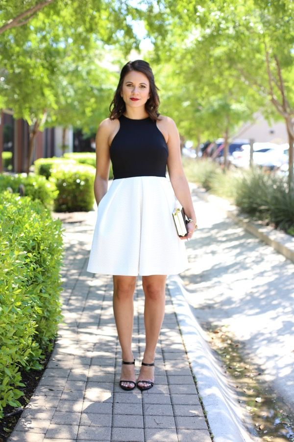 Trina Turk black and white dress, black clutch via @mystylevita