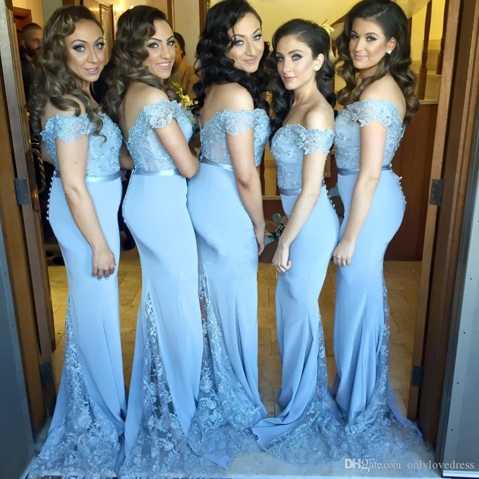 Cheap bridesmaid dresses 2016 light sky blue off the shoulder lace cheap bridesmaid dresses 2016 light sky blue off the shoulder lace top mermaid style wedding party ombrellifo Image collections