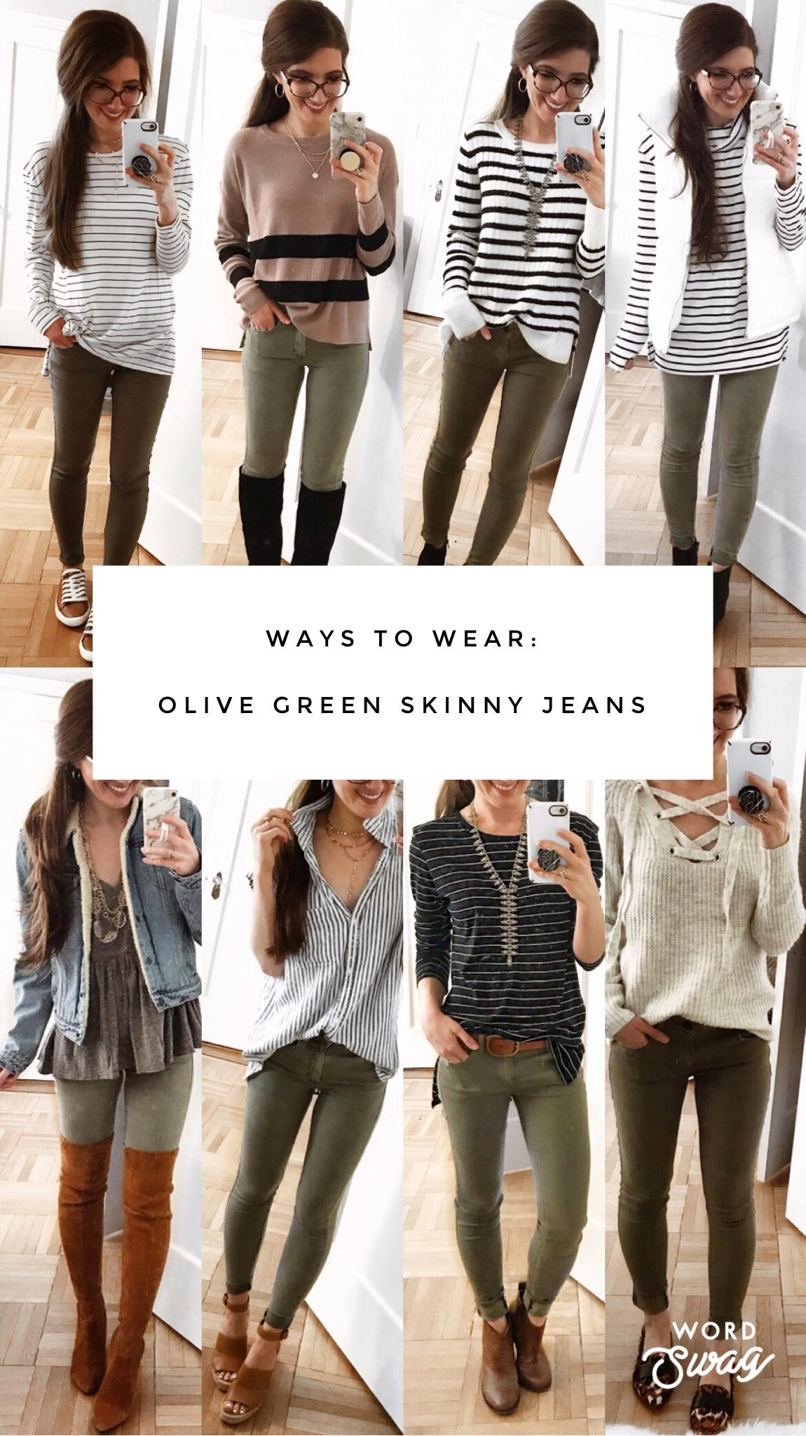 Maneras De Usar Verde Pantalones Ajustados Olive Green Pants Outfit Olive Pants Outfit Green Jeans Outfit