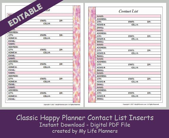 Chp Contact List Insert  Editable  y ife Lanners