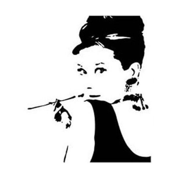 Audrey Hepburn Breakfast At Tiffanyu0027s Silhouette Decoration Wall Decal  Sticker Black Size 23.6 Part 84