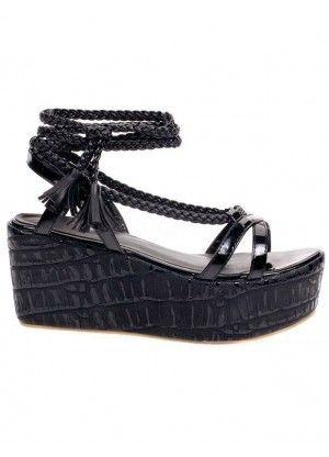 58dfb91f3a75 Black PU Leather Fringe Platform Women s Wedge Sandals - Sandals - Shoes
