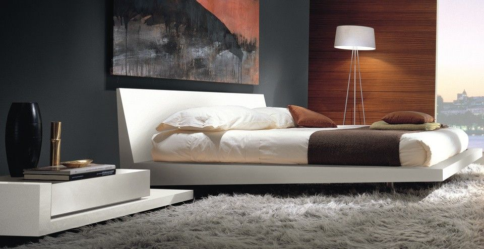 Lovely Interior Italian Magazines Modern Design With Walls Painted Of Grey Also White Laminated Bed Frame H Bed Frame And Headboard Modern Bed Contemporary Bed