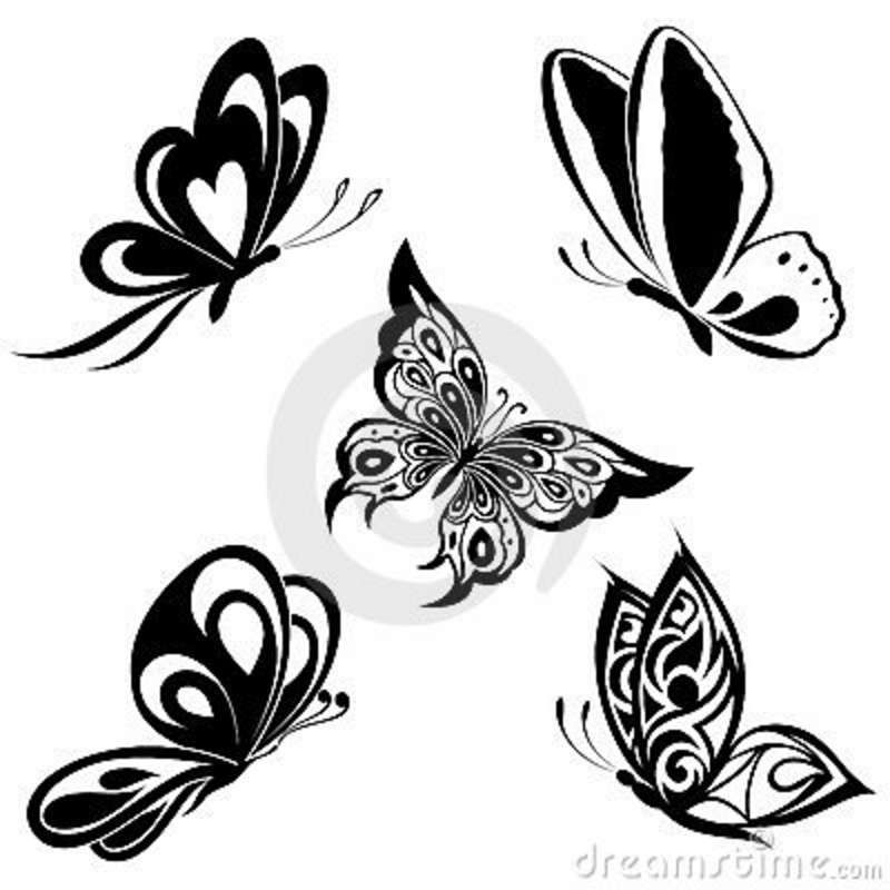 Set Black White Butterflies Of A Tattoo White Butterfly Tattoo Butterfly Tattoo Tattoos For Women Flowers