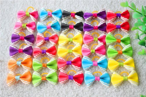 20pcs 15 Pattern Pet Dog Grooming Accessories Products Hand-made Small Dog Hair Bows Rubber Band Cat Hair Clips Boutique