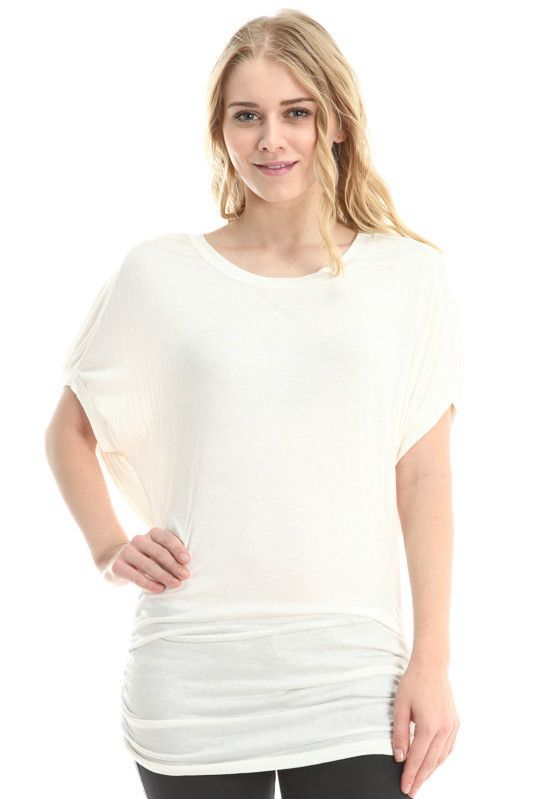 Ivory Jersey Short Sleeved Dolman Top