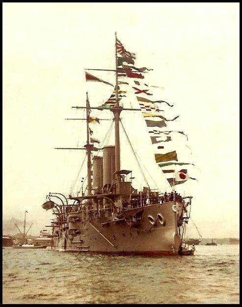 Ca.1904. The Japanese Naval Ship ASAMA in Yokohama Harbor waiting for Emperor Meiji to come aboard. A scene during the Russo-Japan War.