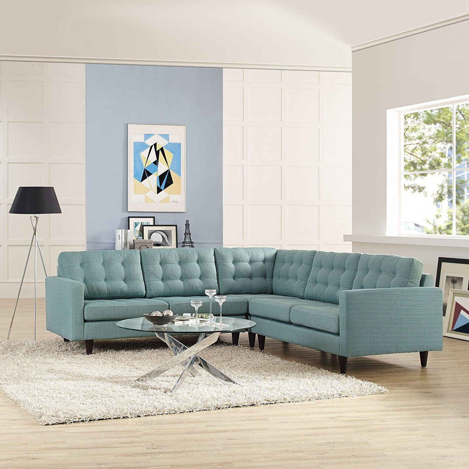 Priscilla EEI1417LB Light Blue Sectional Sofa Blue fabric Sofa