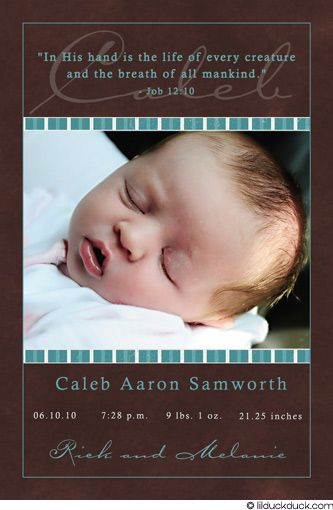 christian woutes for boys brown christian birth announcement