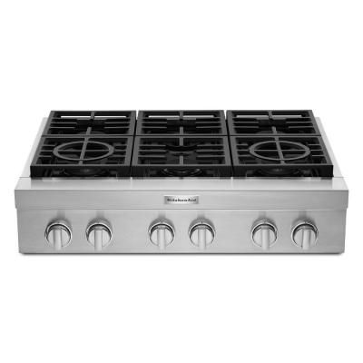 Kitchenaid 36 In Gas Commercial Cooktop With 6 Burners In Stainless Steel Kcgc506jss In 2020 How To Clean Burners Stainless Steel