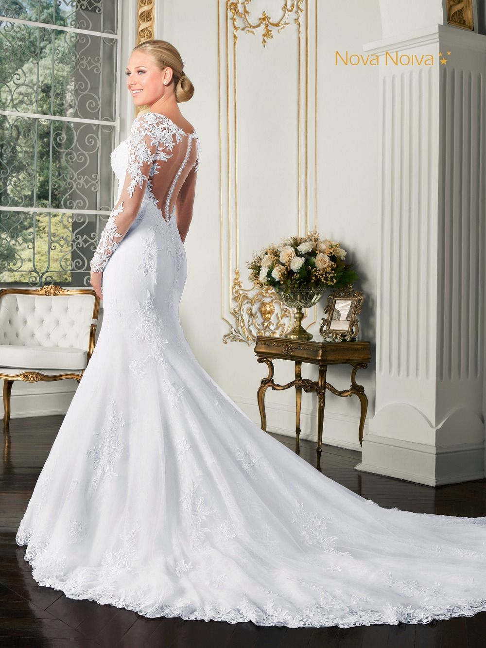 Long lace wedding dress long sleeve mermaid sexy back bridal gown