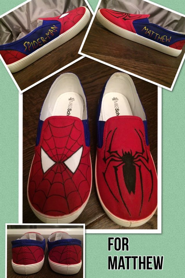 093dcc7d7887 Hand painted Spiderman shoes