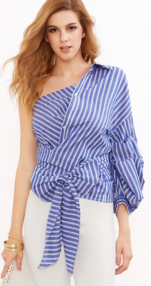 bec2c3896d7ce Blue Striped One Shoulder Wrap Around Button Down Top