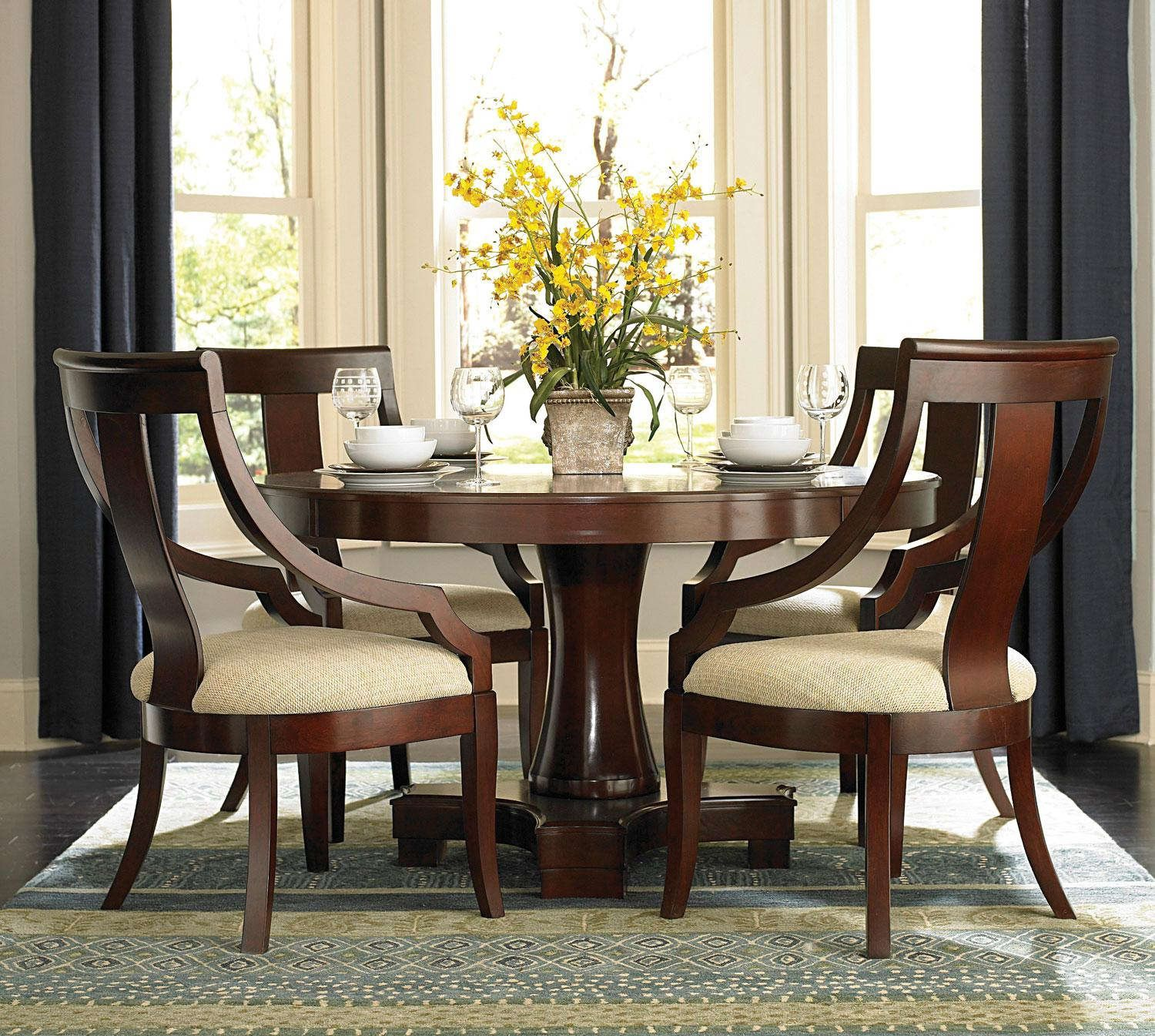Superb Dining Room : Beautiful Yellow Dining Table Centerpieces With Round Dining  Table And Laminated Chair Plus Bay Window Ideas For Dining Table  Centerpieces ...