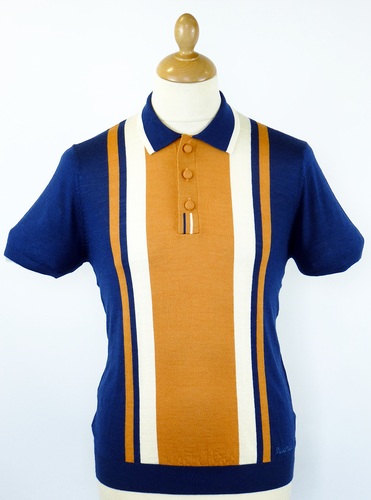 DAVID WATTS Retro Sixties Mod Block Knit Polo (N) | http://www.atomretro.com/11823