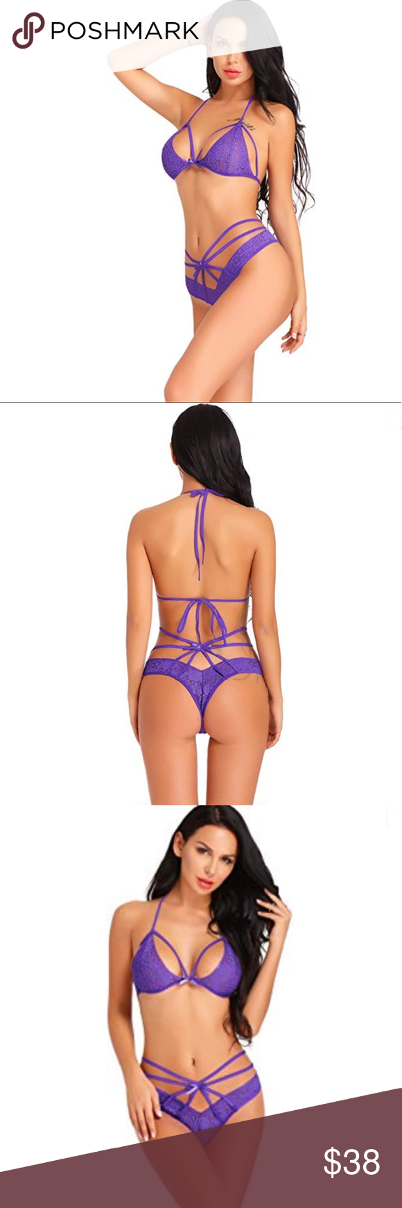 16c0842fd9e Sexy Purple Strappy Halter 2 Piece Set Bra Panty Purple 85% Polyester