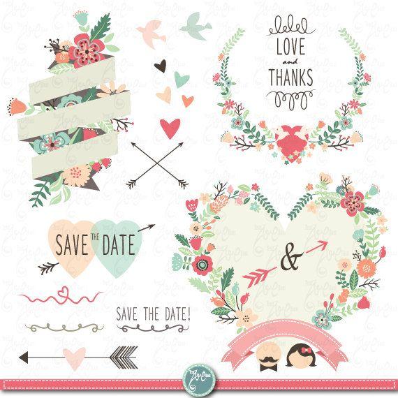"Wedding Clipart Design ""WEDDING FLORA"" digital clip art,Vintage Flowers,Floral Frames,Wreath,Wedding invitation,Instant Download Wd014."