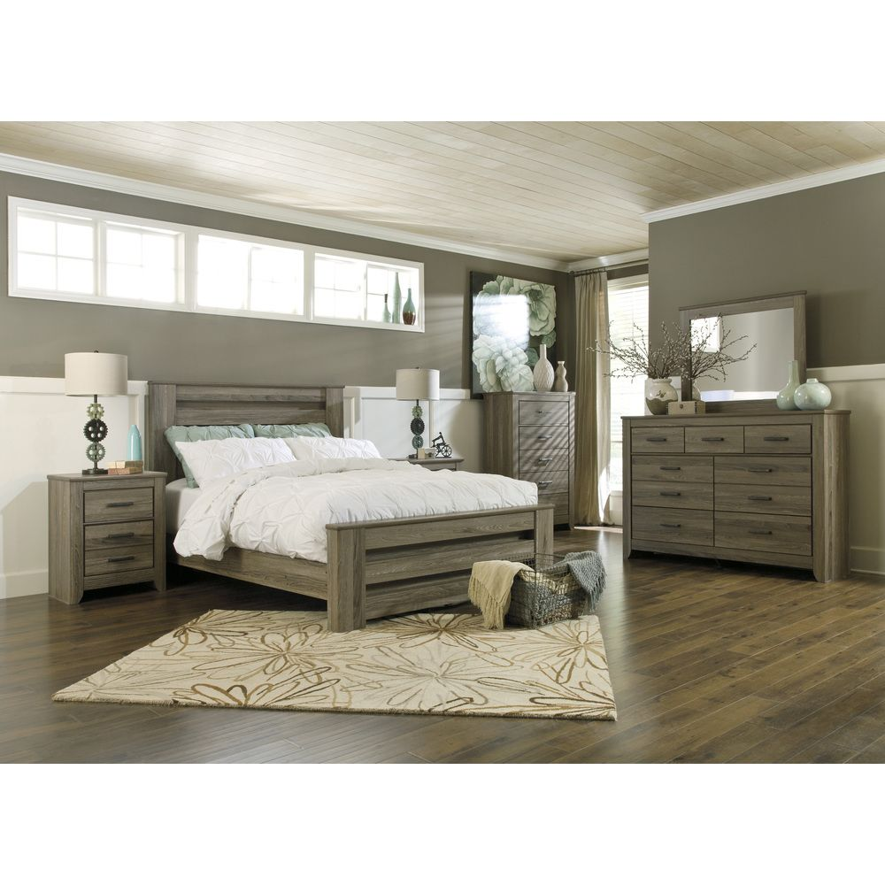 Signature Design by Ashley Zelen Warm Grey Poster Bed | Overstock™ Shopping - Great Deals on Signature Design by Ashley Beds $630.00