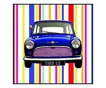 Stampa su tela con telaio in legno Mini Blu - 70x70x4 cm