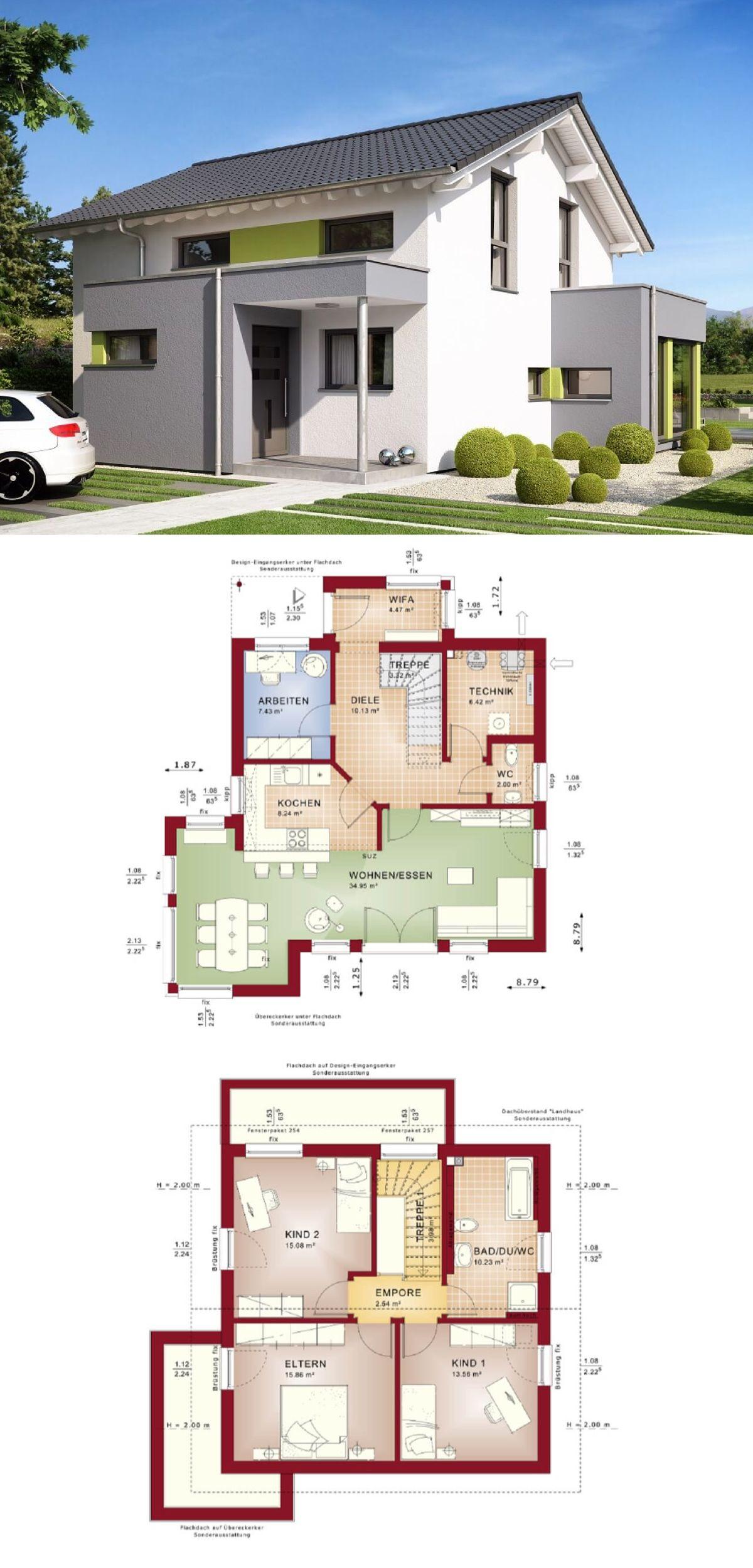 Modernes satteldach haus celebration 125 v7 bien zenker for Modernes einfamilienhaus grundriss