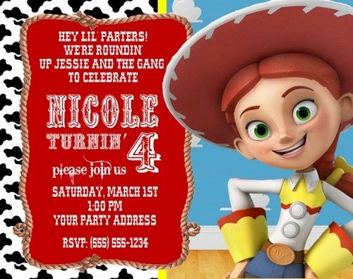 toy story jessie birthday party invitations personalized custom, party invitations