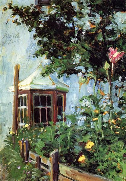 House with a Bay Window in the Garden (1907)   Egon Schiele