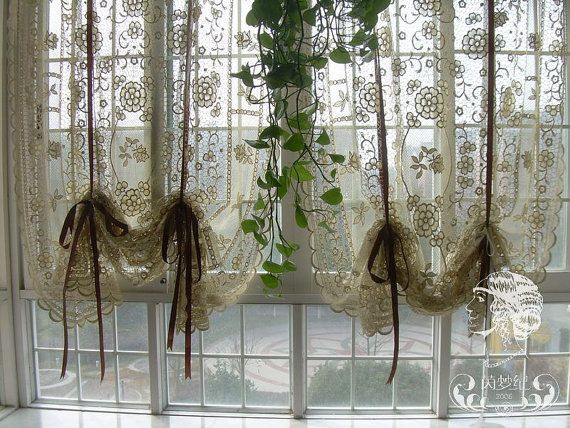 French Country Window Treatments Hand Crochet Lace Balloon Shade