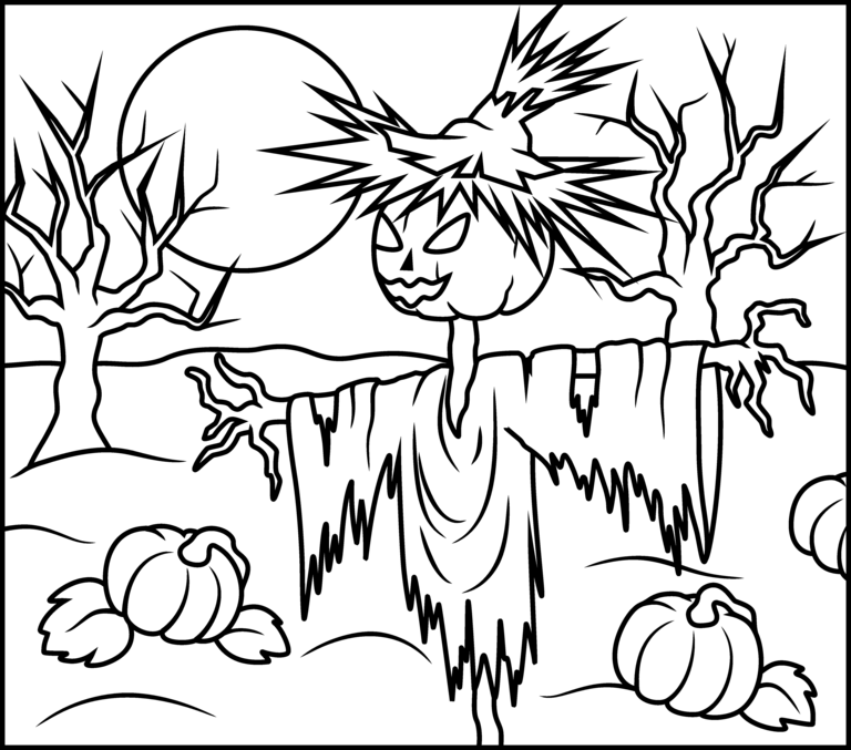 Creepy Scarecrow Halloween coloring page | HALLOWEEN | Pinterest ...