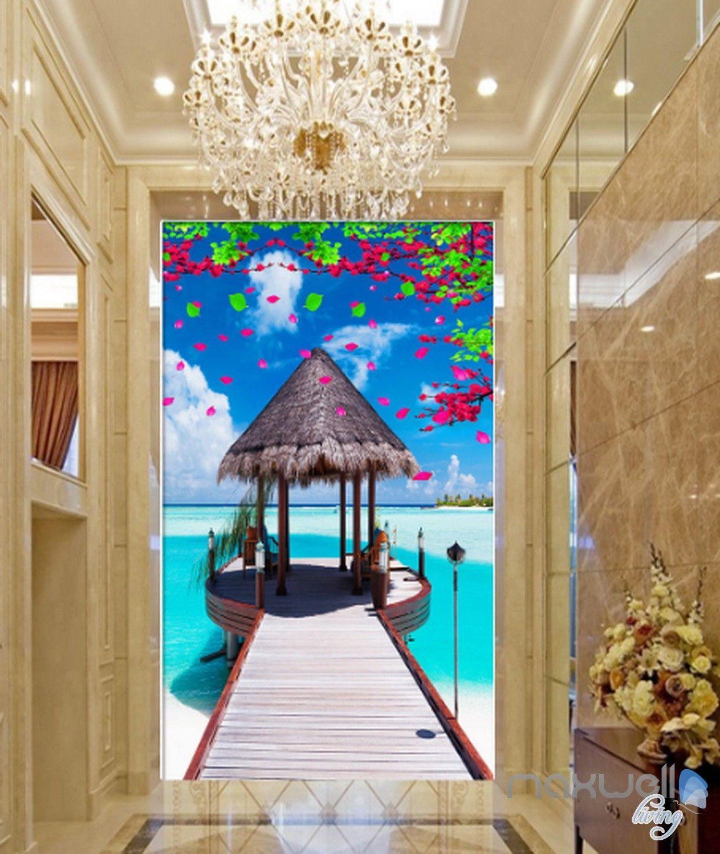 3D Tropical Pier Corridor Entrance Wall Mural