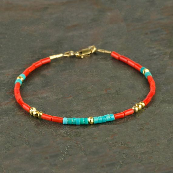 Genuine Red Coral and Blue Turquoise Heishi Bracelet with 14K Gold Fill, Handmade Real Coral Gemstone Bracelet, Multicolored Slim Bracelet