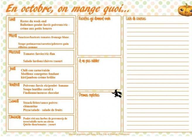 Menus Au Mois Et A La Carte Octobre 2016 Menu Mensuel Idee