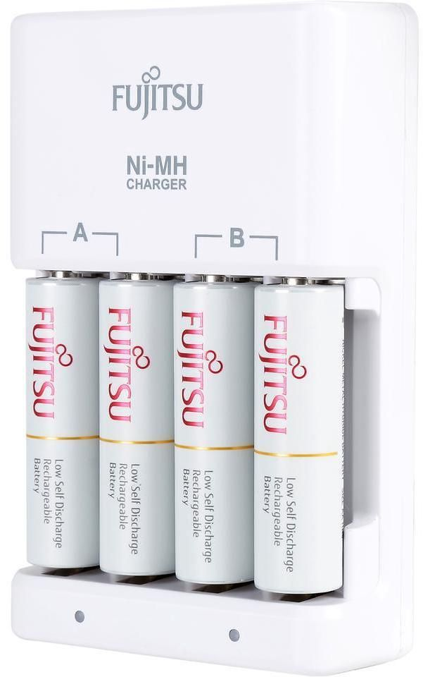 Fujitsu Ni Mh Battery Charger Kit With Aa 2000mah Rechargeable Batteries 4 Pack Made In Japan Battery Charger Charger Battery