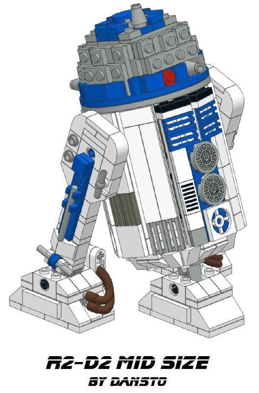 A Gorgeous R2 D2 Lego Sculpture 474 Parts Big Complete With