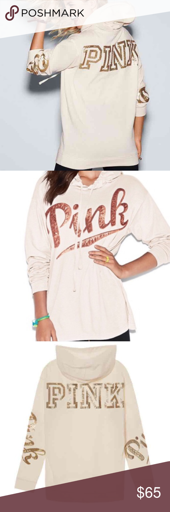 NWT bling hoodie NWT PINK bling campus hoodie - winter white with ...